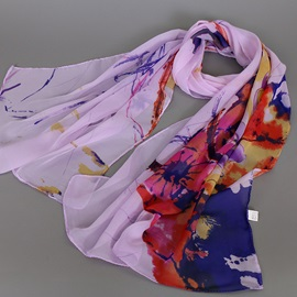 Thin Chiffon Watercolour Printed Scarf