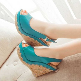 Sweet PU Peep-toe Wedge Sandals