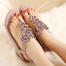Shining Floral Rhinestones Thong Women's Sandals
