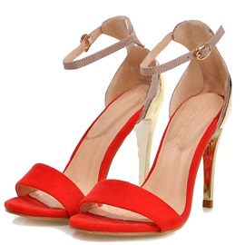 Contrast Color Two-piece Stiletto Heel Sandals