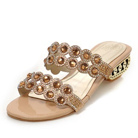 Rhinestone Decorated Strap Hollow-out Heel Sandals