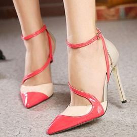 Color Block Pointy-Toe High-Heel Sandals