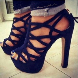 Black Strappy Cut-Out Sandals