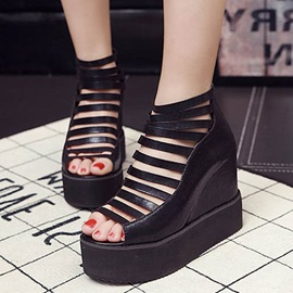 PU Cut-Out Elevator Heel Wedge Sandals