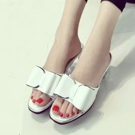 Bowknots Open-Toe Chunky Heel Sandals