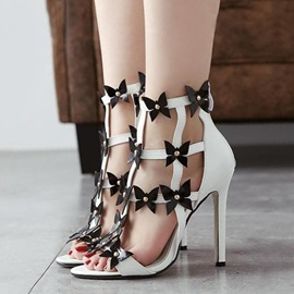 Bowknots Studded Applique Stiletto Heel Sandals