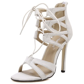 PU Lace-Up Stiletto Heel Sandals