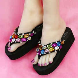 Colored Diamond Thong Beach Sandals