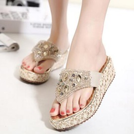 Rhinestone Slip-On Thong Flat Sandals