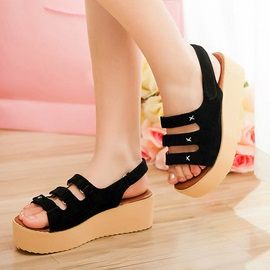 Suede Open-Toe Flat Sandals