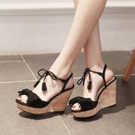 Suede Tassels Lace-Up Wedge Sandals