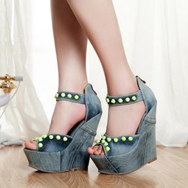 Denim Rivets Back-Zip Wedge Sandals
