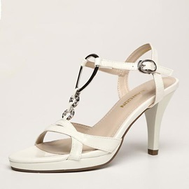Solid Color PU Peep-Toe Sandals