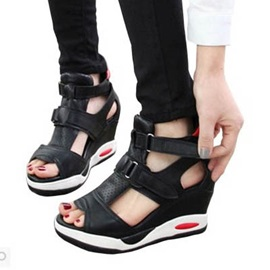 PU Peep-Toe Velcro Wedge Sandals