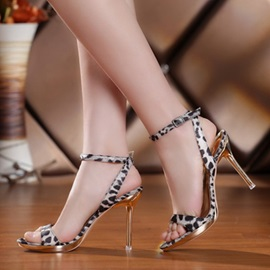 Leopard Printed Buckles Stiletto Heel Sandals