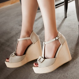 Bowknots Peep-Toe T-Strap Wedge Sandals