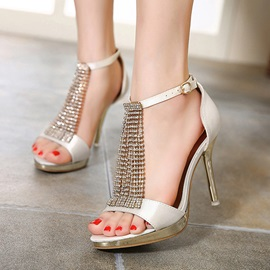 Rhinestone Chains Covering Heel Sandals