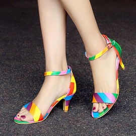 Color Block Covering Heel Sandals
