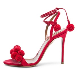 Pompoms Stiletto Heel Lace-Up Sandals