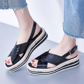 Striped Peep-Toe Flat Sandals