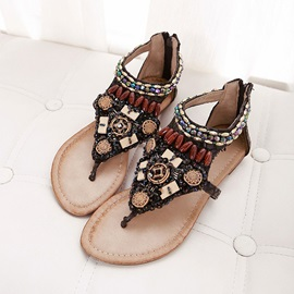 Boho Beading Thong Back-Zip Flat Sandals