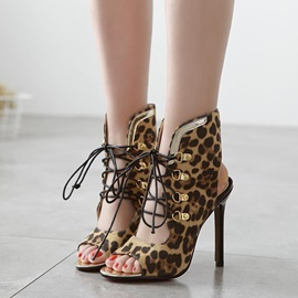 Leopard Printed Peep-Toe Lace-Up
