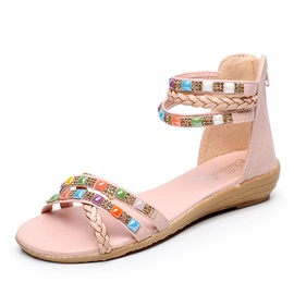 PU Diamond Back-Zip Flat Sandals