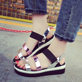 Metallic PU Flat Sandals