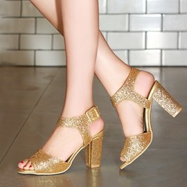 Sequins Peep-Toe Buckle Chunky Heel