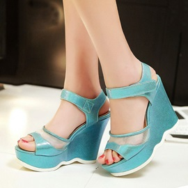Mesh Patchwork Peep-Toe Wedge Sandals