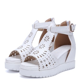 PU Hollow Back-Zip Wedge Sandals