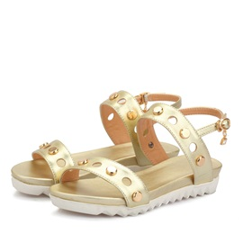 PU Studded Buckles Flat Sandals