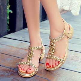Diamond Elastic Band Flat Sandals