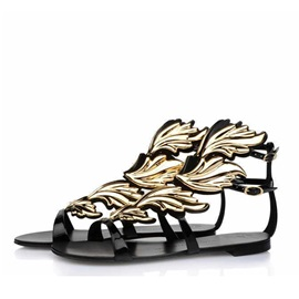 Retro Open-Toe Flat Sandals