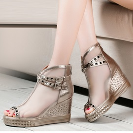 Rivets Mesh  Peep-Toe Wedge Sandals