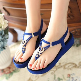 Solid Color Beaded Thong Flat Sandals