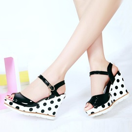 PU Polk Dots Peep-Toe Wedge Sandals