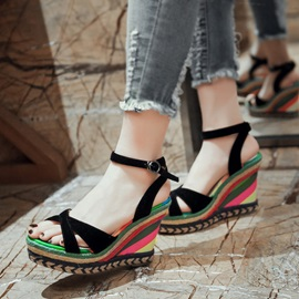 Color Block Peep-Toe Crochet Wedge