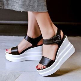 Color Block PU Velcro Wedge