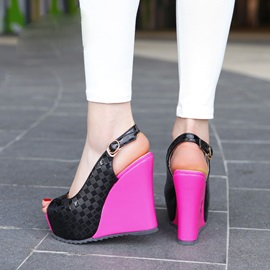 Embossed PU Peep-Toe Wedge Heel Sandals