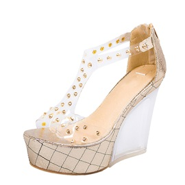 PVC Rivets Peep-Toe Wedge Sandals