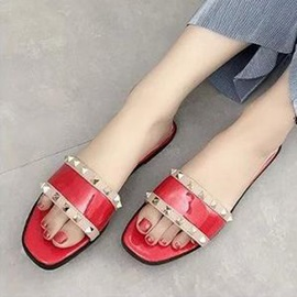 PU Rivets Slip-On Flat Sandals
