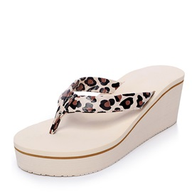 Leopard Printed Thong Wedge Sandals