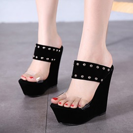 Studded PVC Patchwork Wedge Sandals