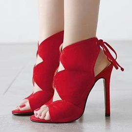 Solid Color Cut-Out Stiletto Heel Sandals