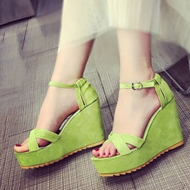 Solid Color Buckles Wedge