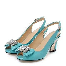 Diamond Bowknots Peep-Toe Chunky Heel Sandals