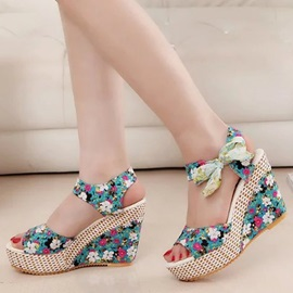 Floral Printed Lace-Up Wedge Sandals