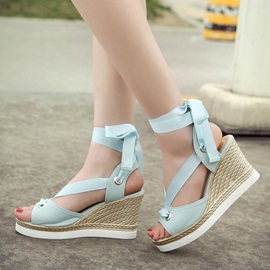 Solid Color PU Lace-Up Wedge Sandals