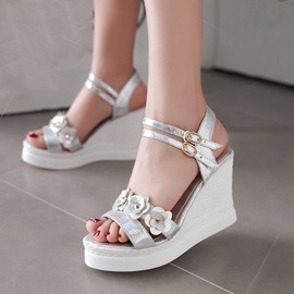 PU Applique Buckles Wedge Sandals